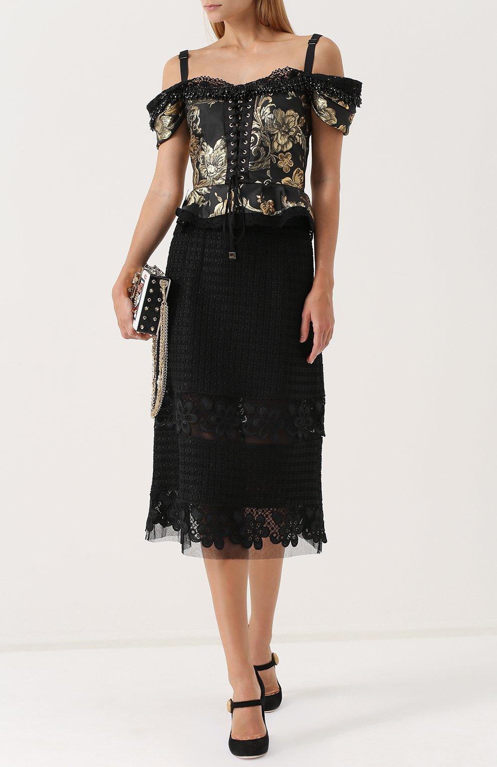 Кружевная юбка-миди с широким поясом Dolce & Gabbana черная | Фото №2