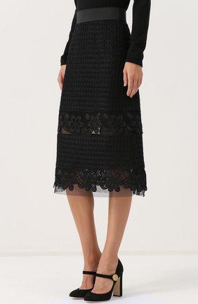 Кружевная юбка-миди с широким поясом Dolce & Gabbana черная | Фото №3