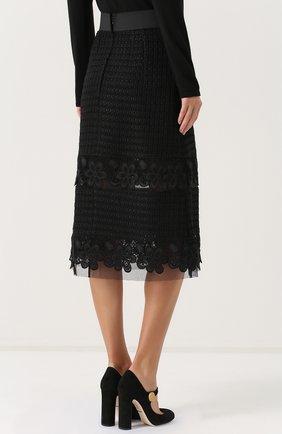 Кружевная юбка-миди с широким поясом Dolce & Gabbana черная | Фото №4