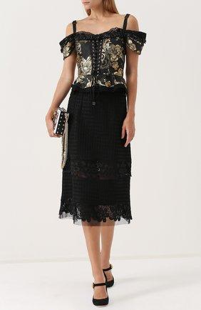 Приталенный топ с открытыми плечами и баской Dolce & Gabbana черный | Фото №2