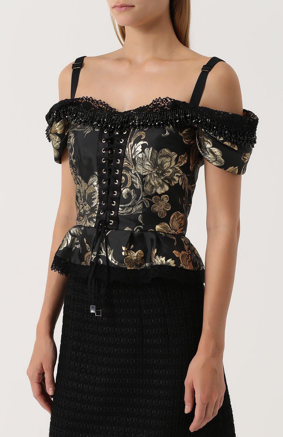 Приталенный топ с открытыми плечами и баской Dolce & Gabbana черный | Фото №3