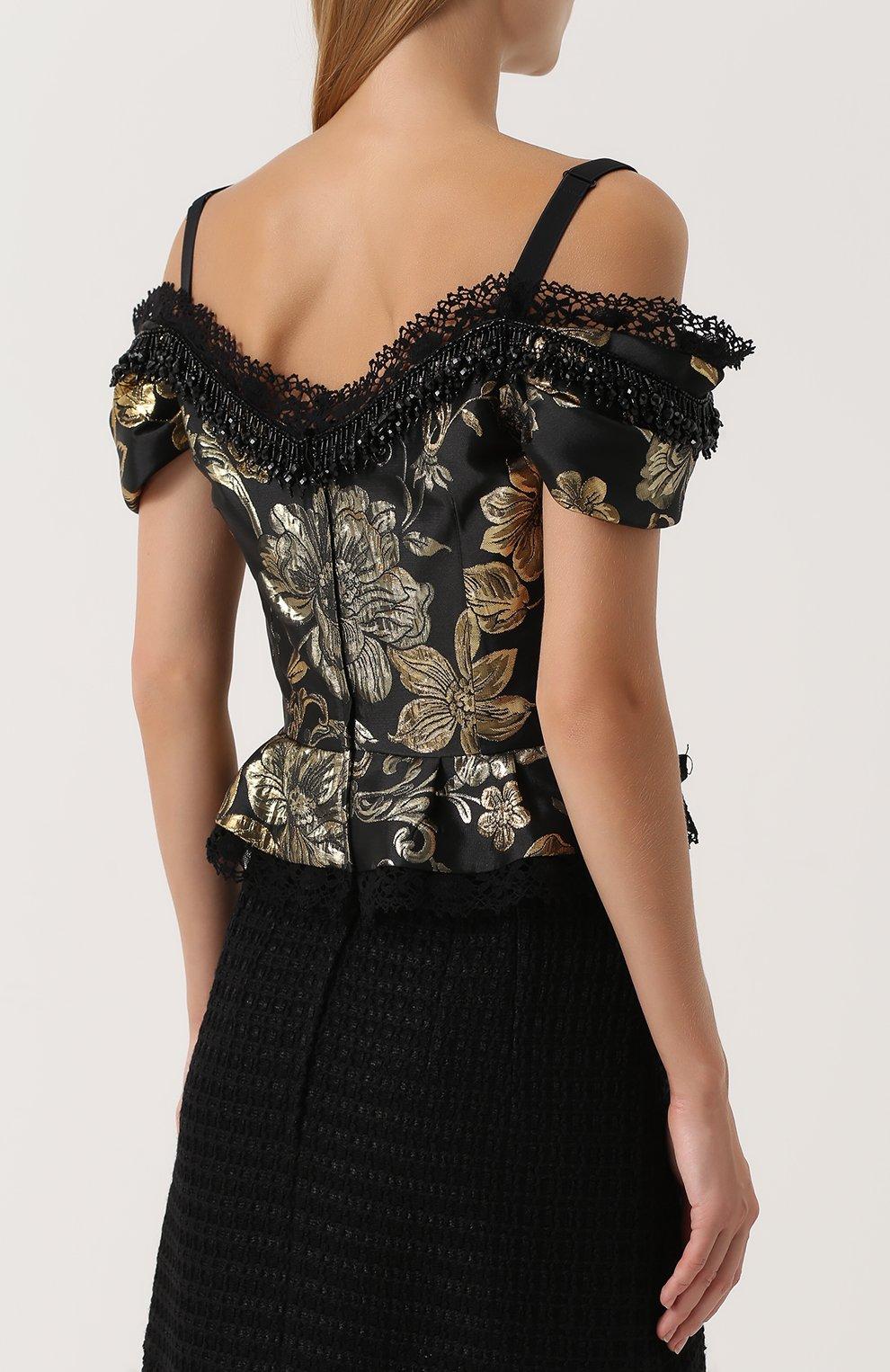 Приталенный топ с открытыми плечами и баской Dolce & Gabbana черный | Фото №4