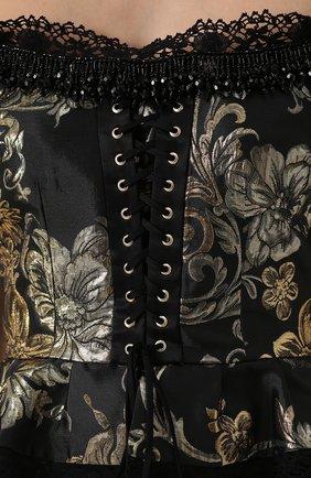 Приталенный топ с открытыми плечами и баской Dolce & Gabbana черный | Фото №5