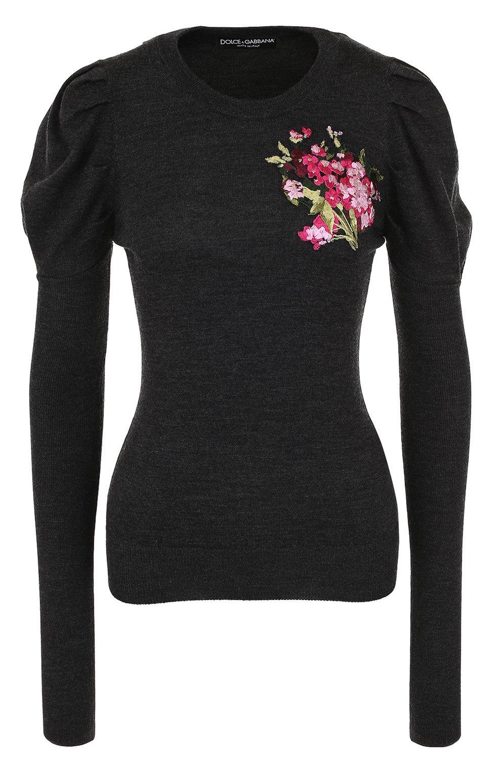 Шерстяной пуловер с цветочной вышивкой | Фото №1