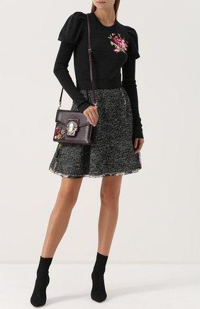Шерстяной пуловер с цветочной вышивкой Dolce & Gabbana темно-серый | Фото №2