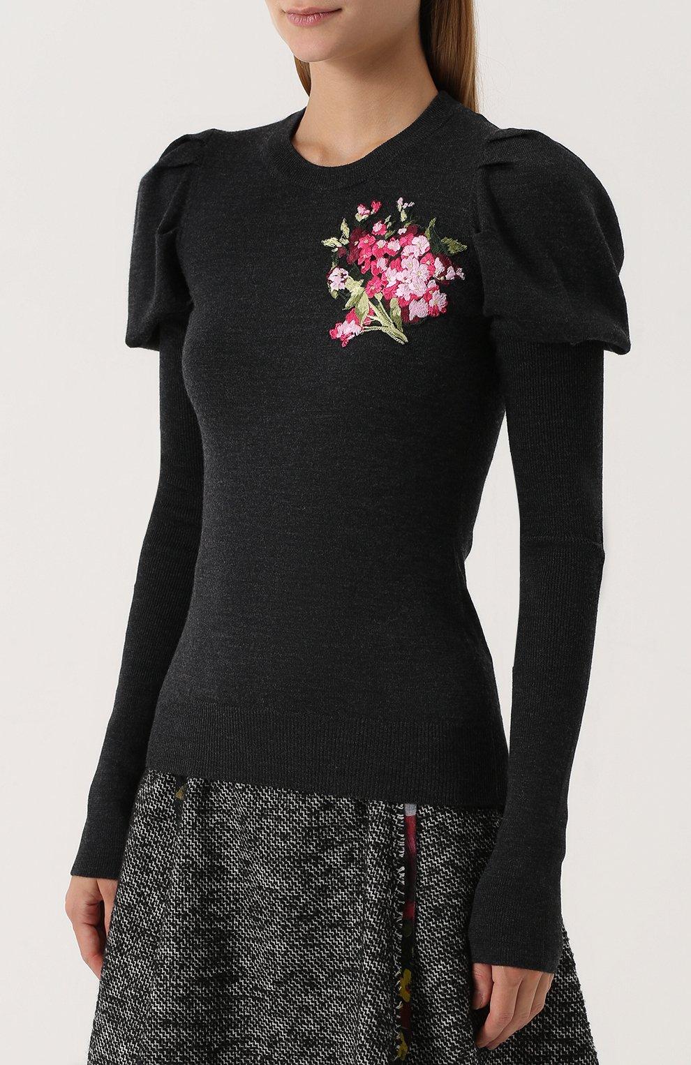Шерстяной пуловер с цветочной вышивкой Dolce & Gabbana темно-серый | Фото №3