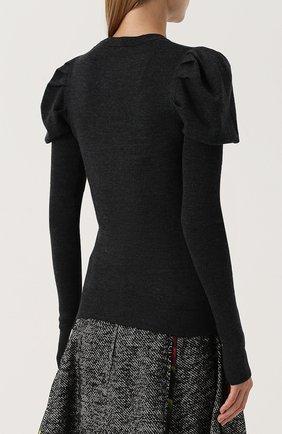 Шерстяной пуловер с цветочной вышивкой Dolce & Gabbana темно-серый | Фото №4