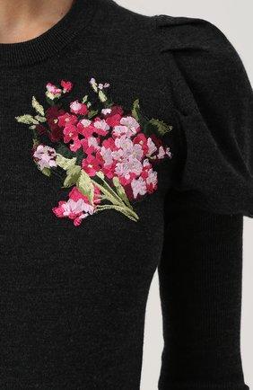 Шерстяной пуловер с цветочной вышивкой Dolce & Gabbana темно-серый | Фото №5