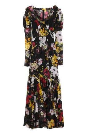 Шелковое платье-макси с цветочным принтом Dolce & Gabbana разноцветное   Фото №1