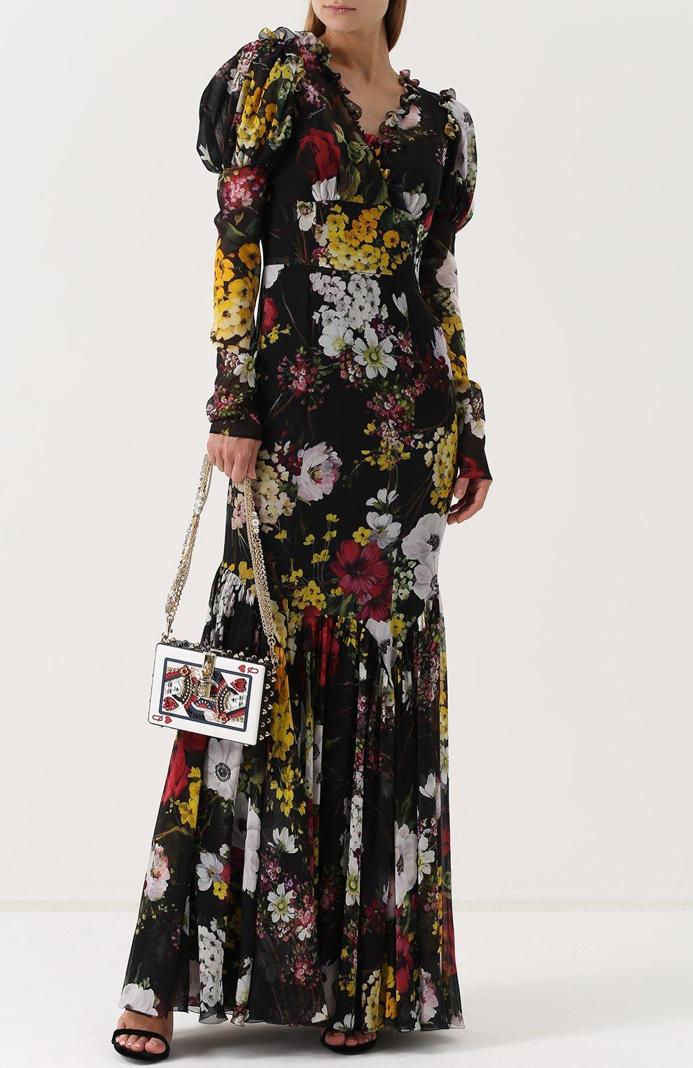 Шелковое платье-макси с цветочным принтом Dolce & Gabbana разноцветное   Фото №2