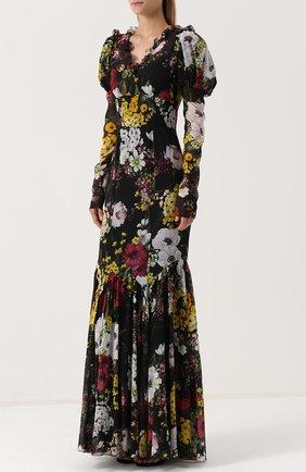Шелковое платье-макси с цветочным принтом Dolce & Gabbana разноцветное   Фото №3