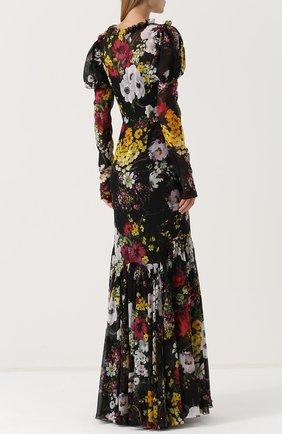 Шелковое платье-макси с цветочным принтом Dolce & Gabbana разноцветное   Фото №4