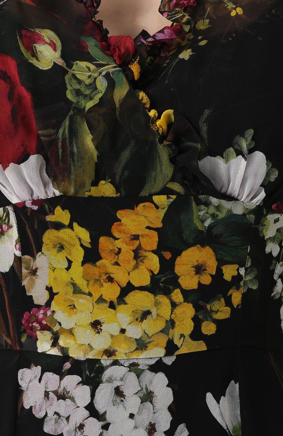 Шелковое платье-макси с цветочным принтом Dolce & Gabbana разноцветное   Фото №5