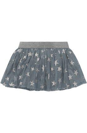 Мини-юбка с металлизированным принтом в виде звезд | Фото №1