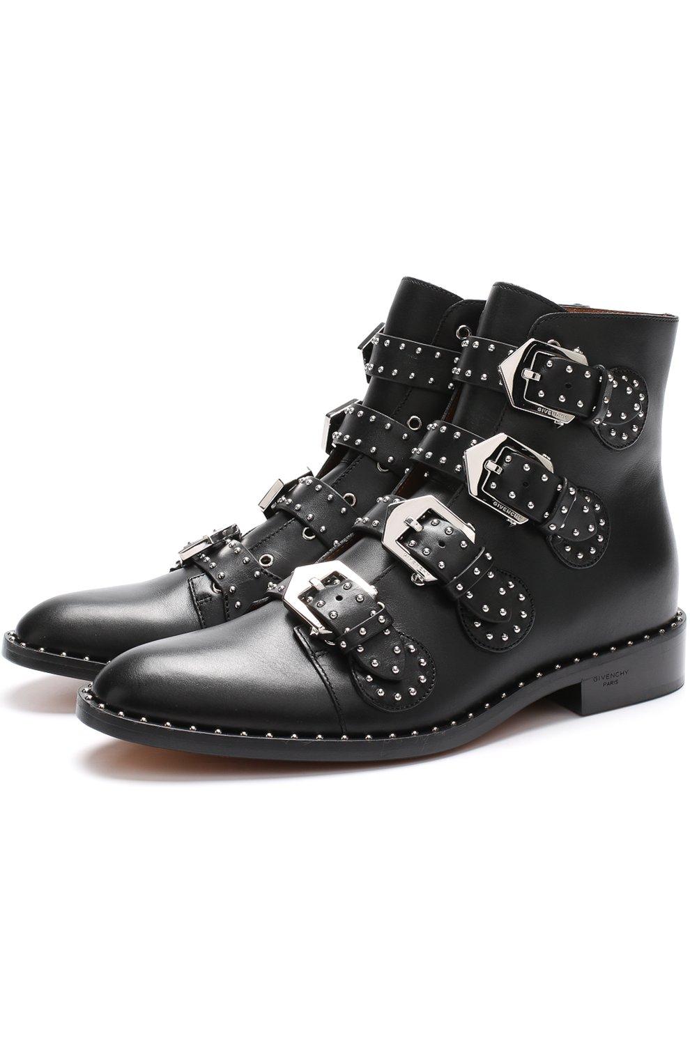 Женские кожаные ботинки elegant studs с заклепками GIVENCHY черного цвета, арт. BE08143004   Фото 1