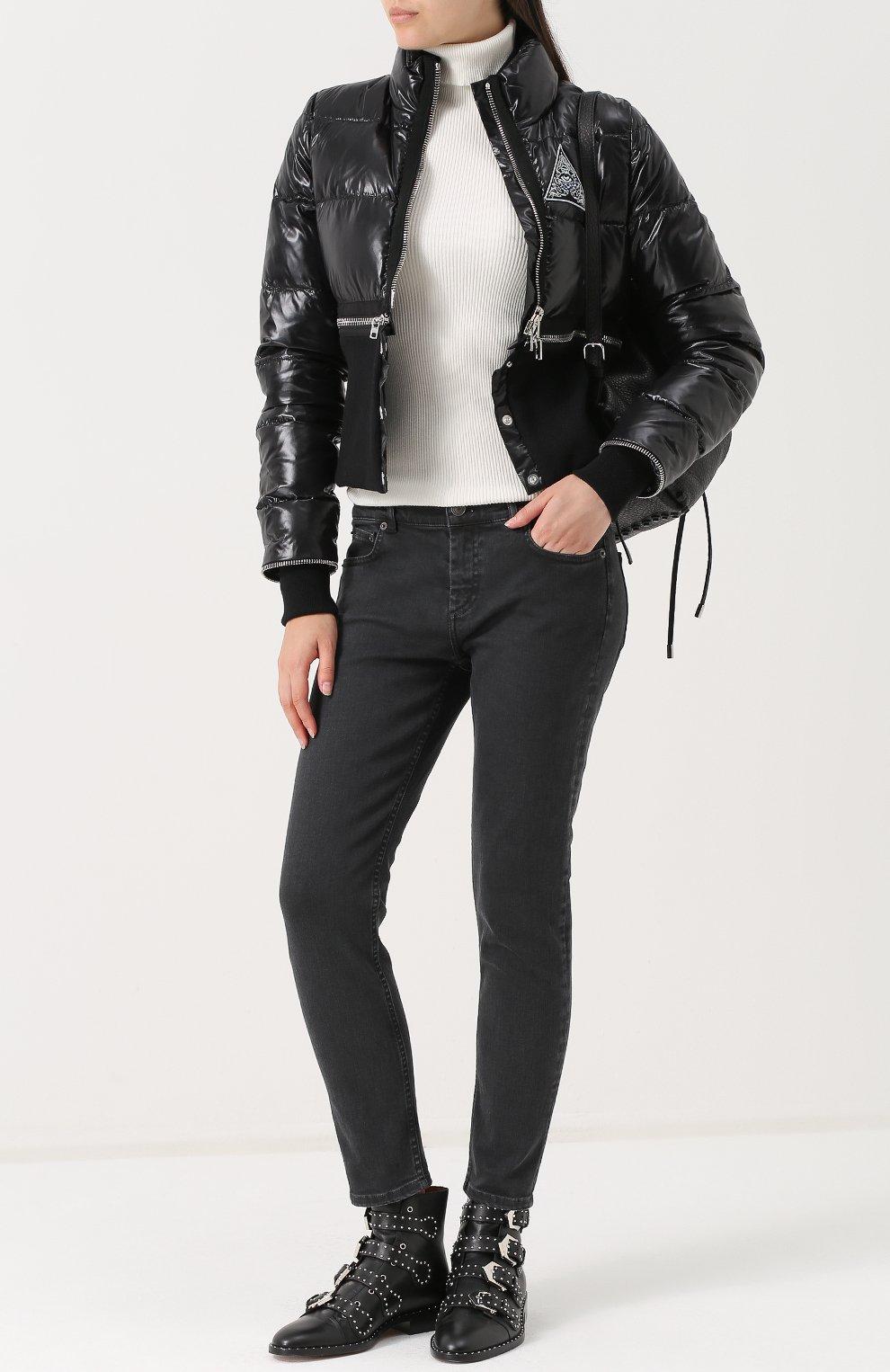 Женские кожаные ботинки elegant studs с заклепками GIVENCHY черного цвета, арт. BE08143004   Фото 2