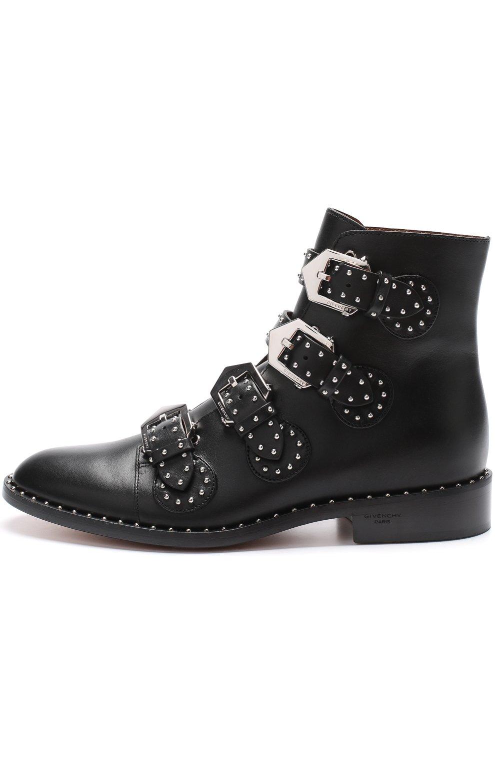 Женские кожаные ботинки elegant studs с заклепками GIVENCHY черного цвета, арт. BE08143004   Фото 3