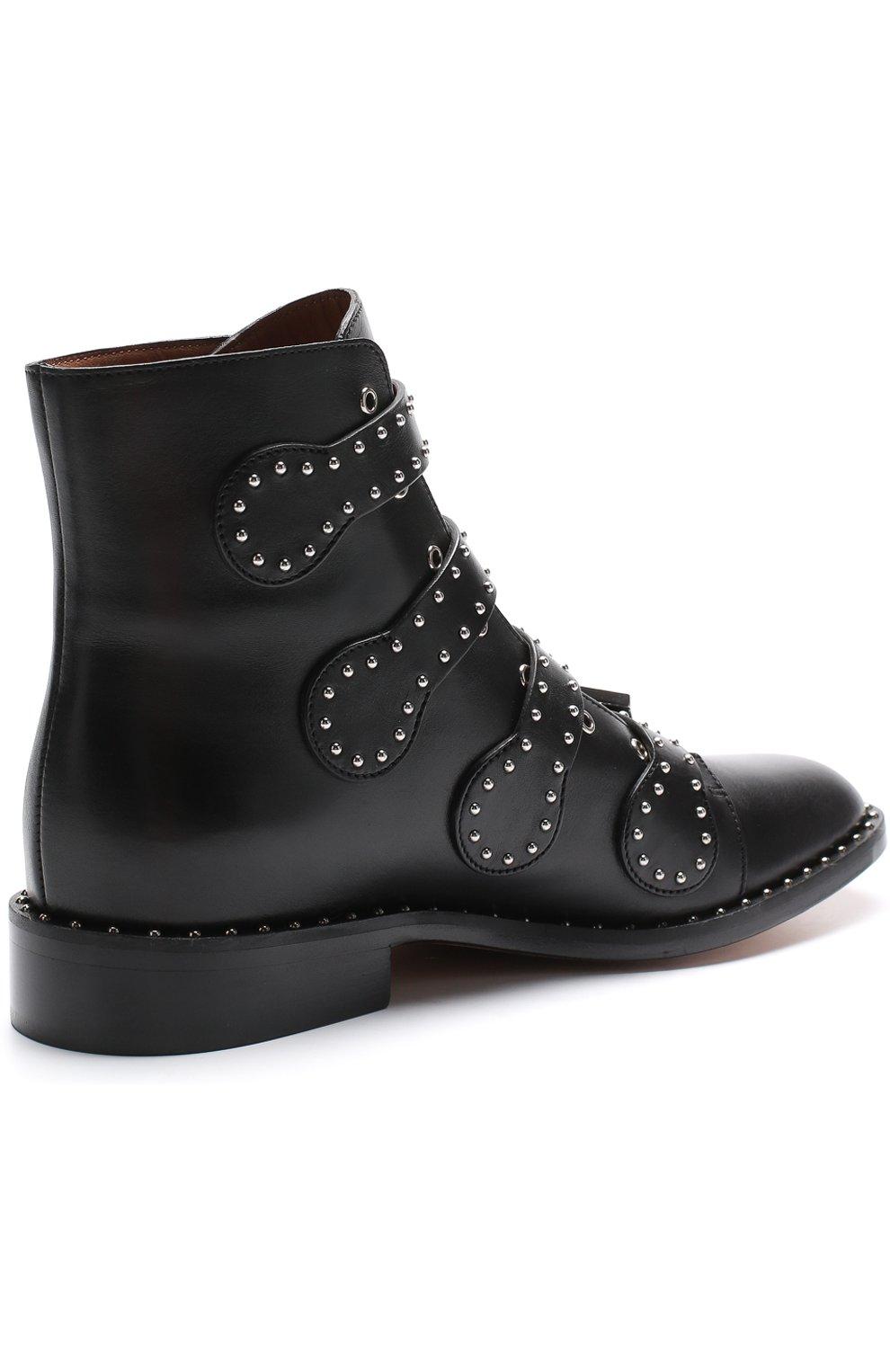 Женские кожаные ботинки elegant studs с заклепками GIVENCHY черного цвета, арт. BE08143004   Фото 4
