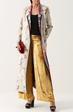 Бархатные широкие брюки Forte_forte золотые   Фото №1