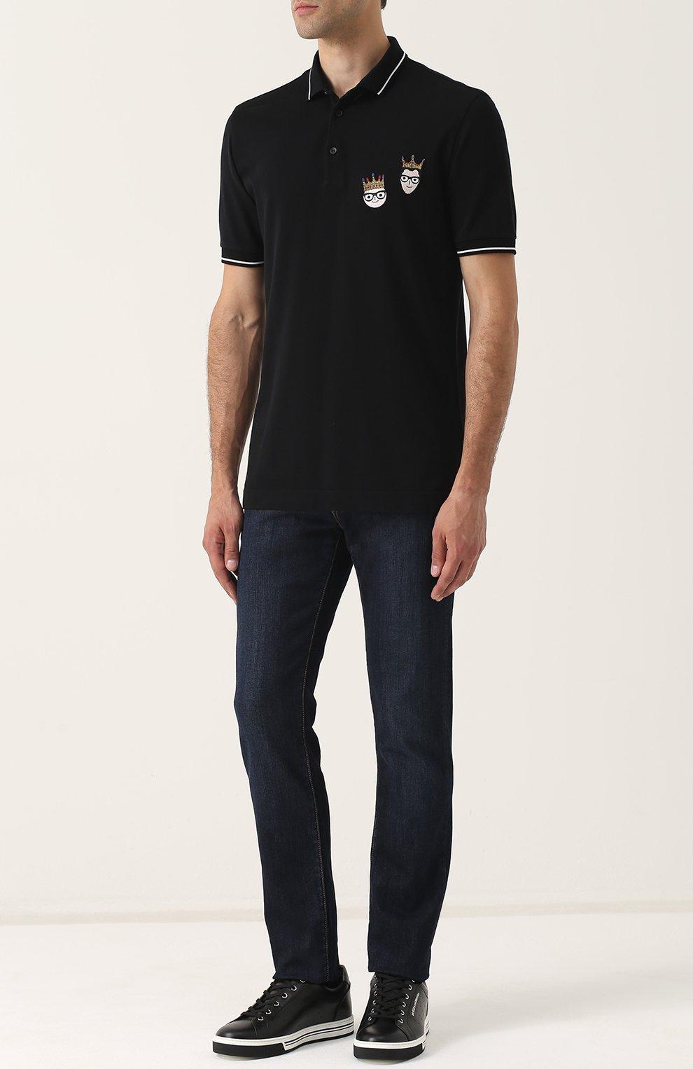 Хлопковое поло с нашивками Dolce & Gabbana черное | Фото №2