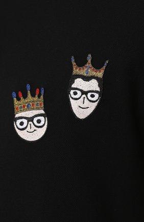 Хлопковое поло с нашивками Dolce & Gabbana черное | Фото №5