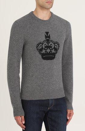 Шерстяной свитер с принтом Dolce & Gabbana светло-серый   Фото №3
