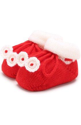 Детские вязаные носки с контрастной отделкой CATYA белого цвета, арт. 721535 | Фото 1
