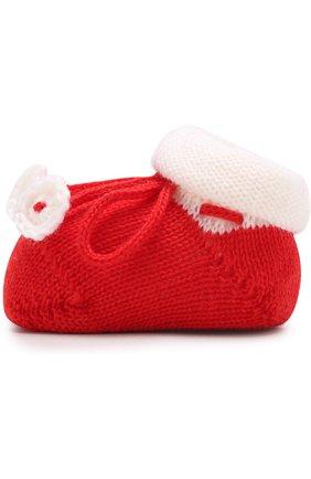 Детские вязаные носки с контрастной отделкой CATYA белого цвета, арт. 721535 | Фото 2