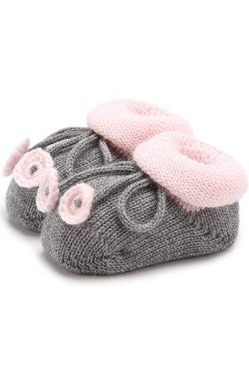 Вязаные носки с контрастной отделкой   Фото №1