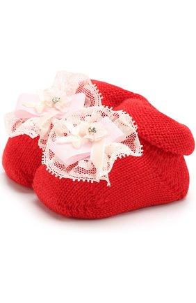 Детские вязаные носки с декором CATYA красного цвета, арт. 721536 | Фото 1