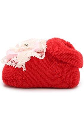 Детские вязаные носки с декором CATYA красного цвета, арт. 721536 | Фото 2