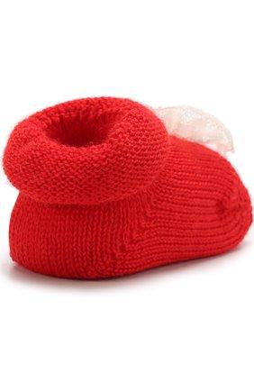 Детские вязаные носки с декором CATYA красного цвета, арт. 721536 | Фото 3