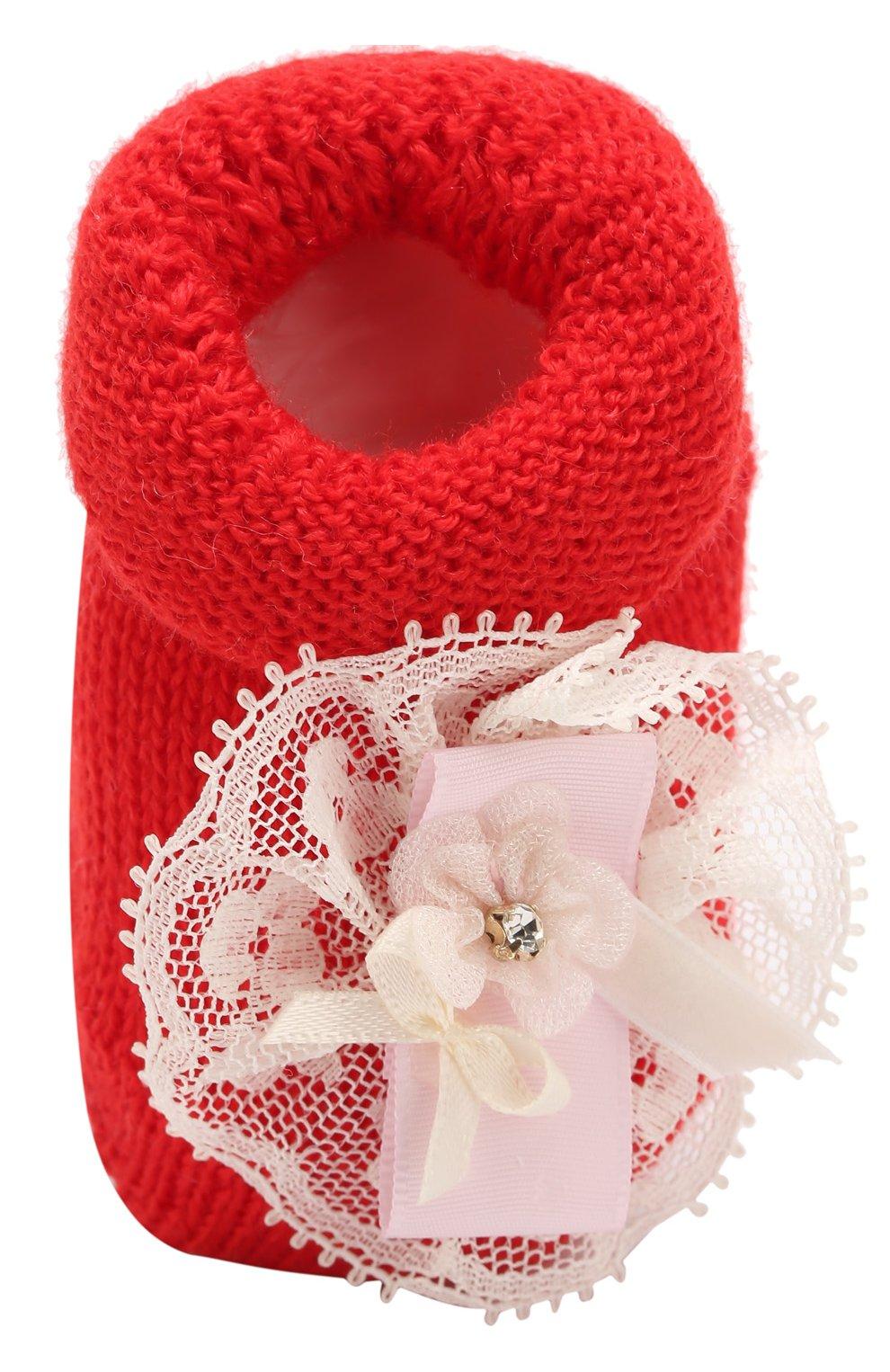 Детские вязаные носки с декором CATYA красного цвета, арт. 721536 | Фото 4