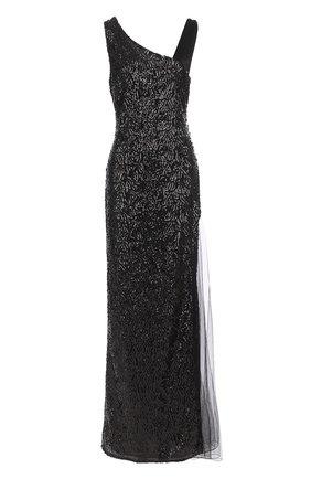 Платье-макси с пайетками и прозрачной вставкой | Фото №1