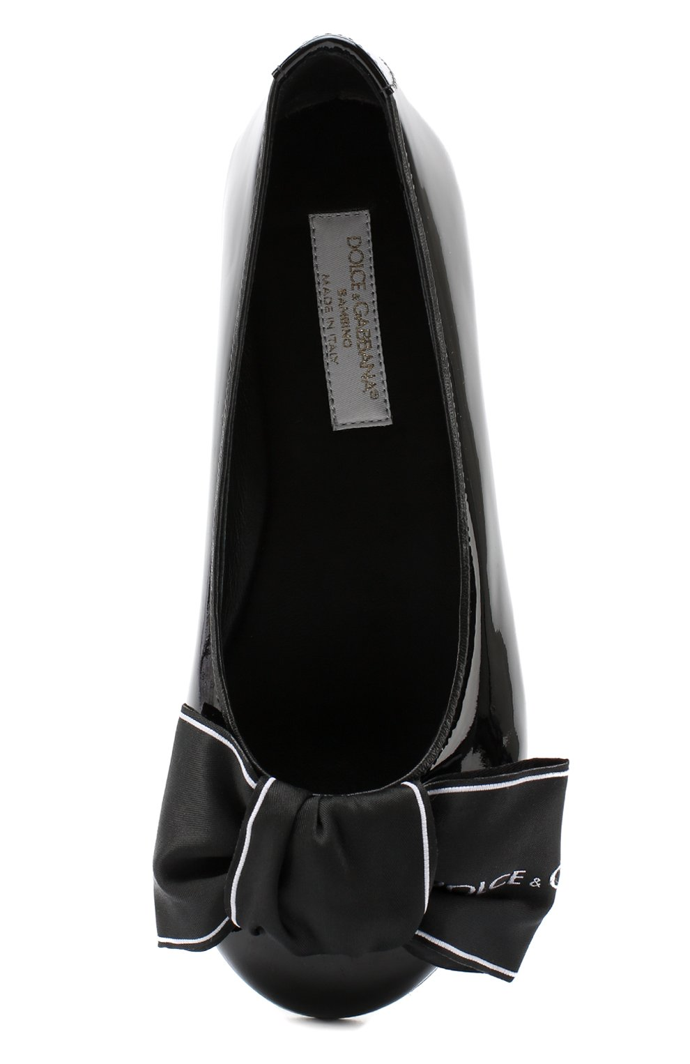 Детские лаковые балетки с бантами Dolce & Gabbana черного цвета   Фото №4