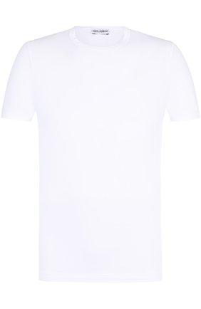 Хлопковая футболка с круглым вырезом Dolce & Gabbana белая   Фото №1