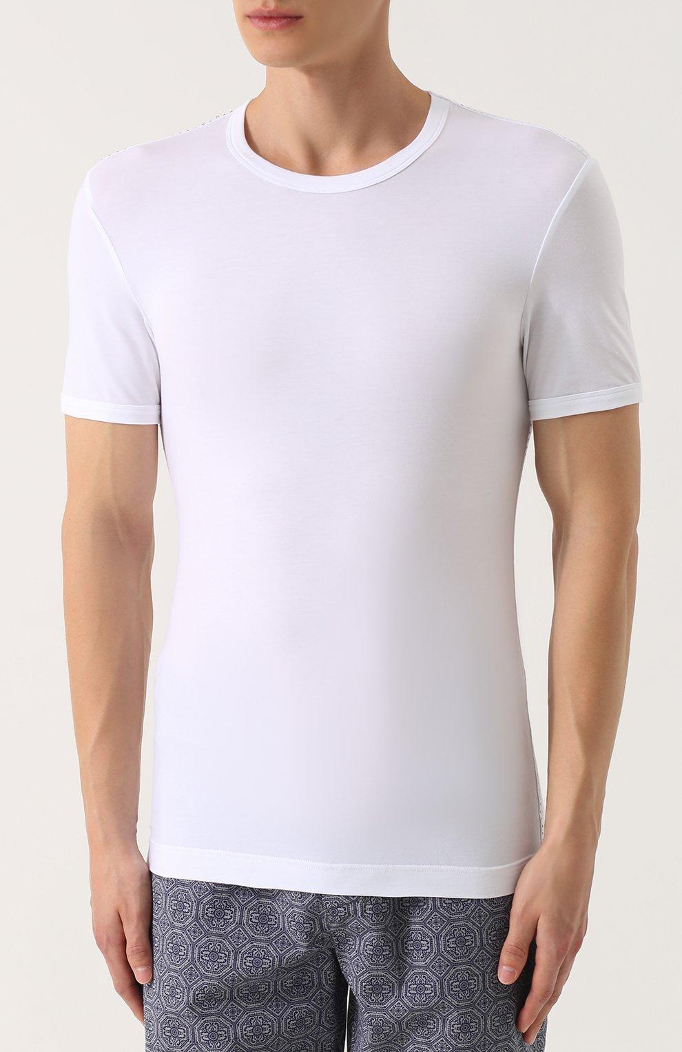 Хлопковая футболка с круглым вырезом Dolce & Gabbana белая   Фото №3