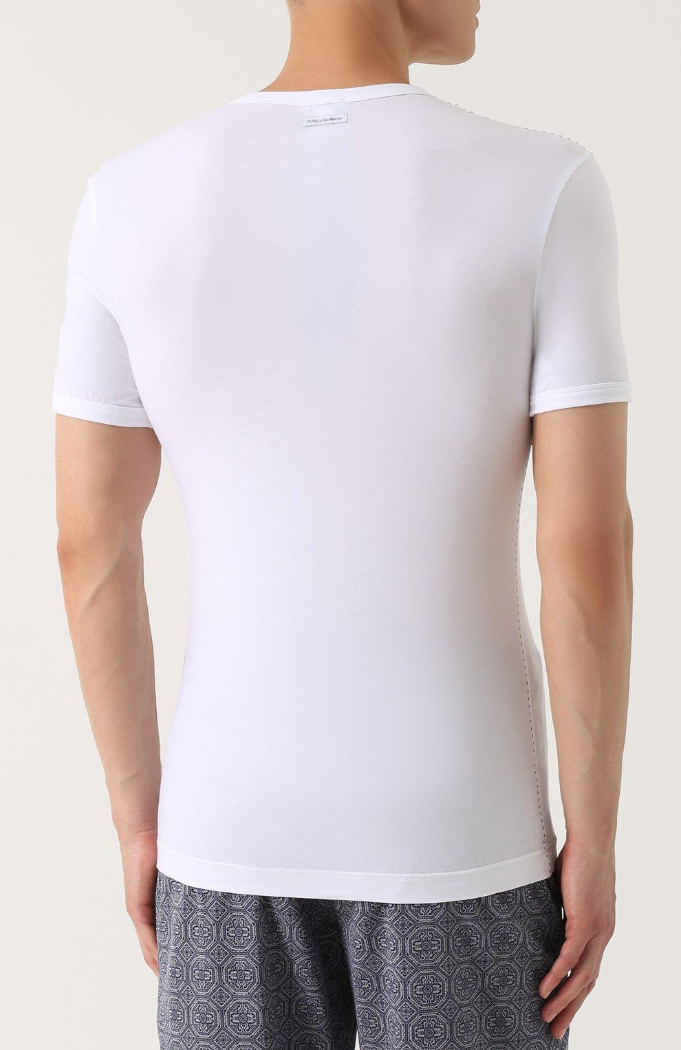 Хлопковая футболка с круглым вырезом Dolce & Gabbana белая   Фото №4