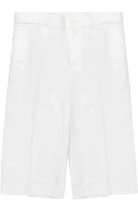 Детские шорты из эластичного хлопка прямого кроя Dolce & Gabbana белого цвета | Фото №1