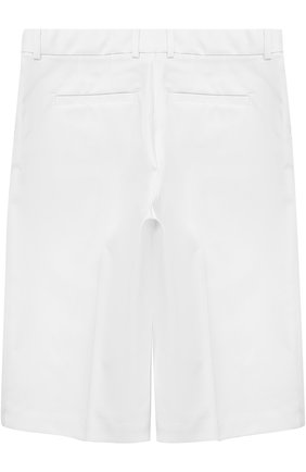 Детские шорты из эластичного хлопка прямого кроя Dolce & Gabbana белого цвета | Фото №2