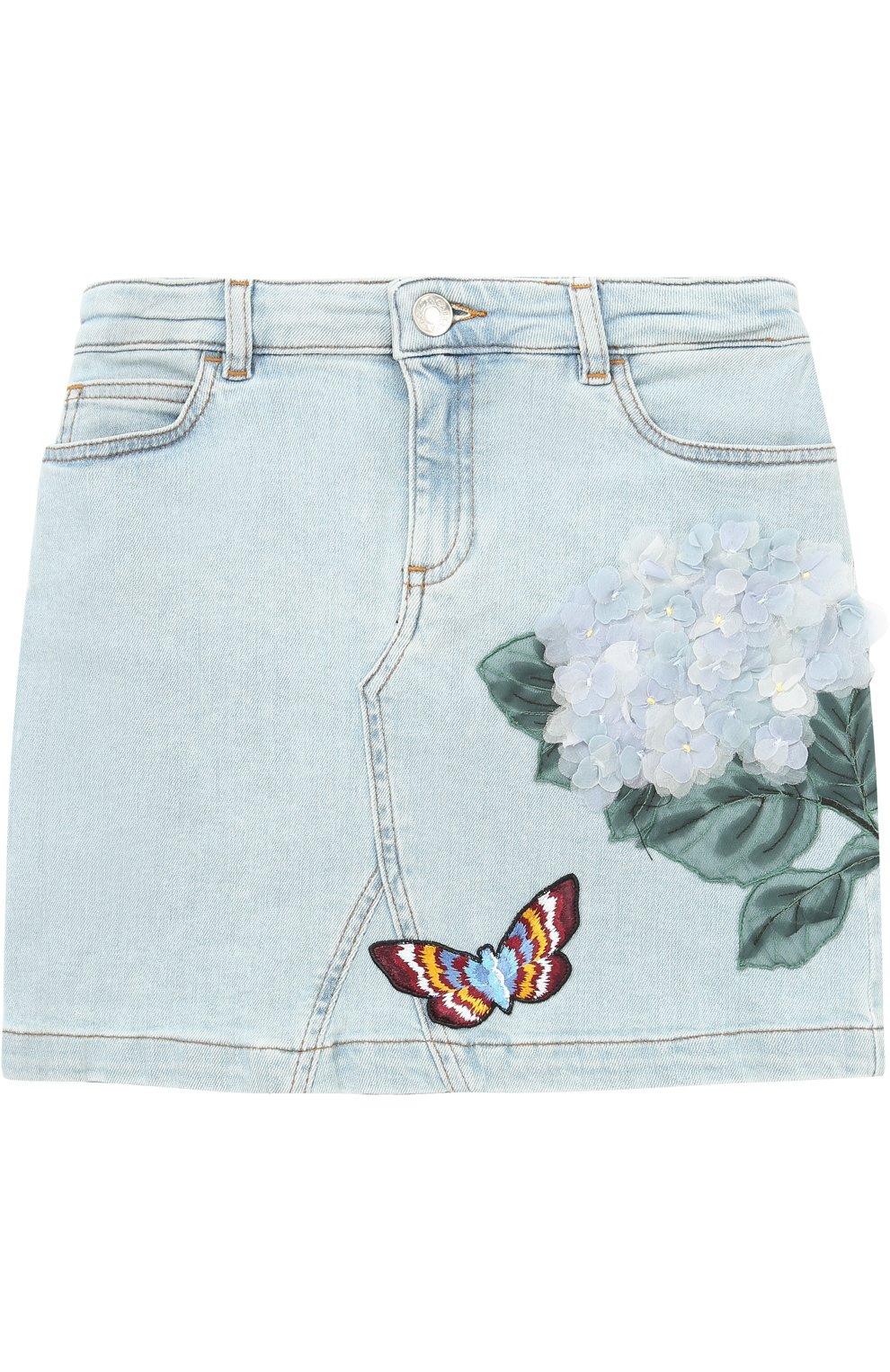 Мини-юбка из денима с цветочной аппликацией и вышивкой | Фото №1