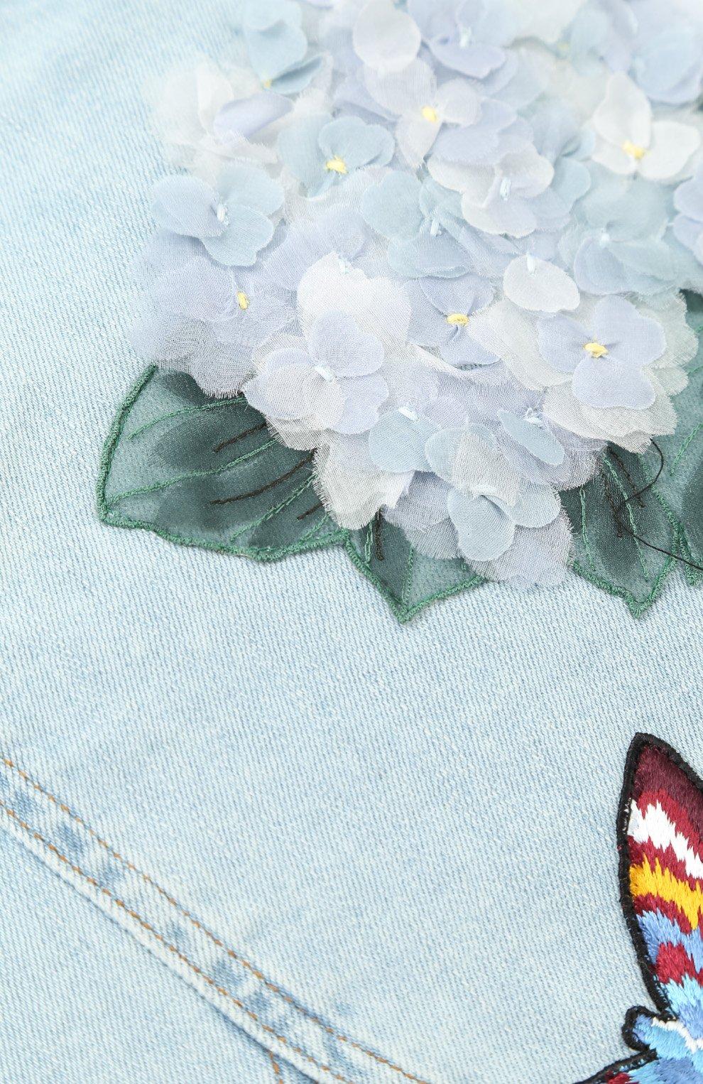 Мини-юбка из денима с цветочной аппликацией и вышивкой | Фото №3