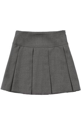 Шерстяная мини-юбка с защипами | Фото №1