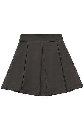 Мини-юбка с широким поясом и защипами | Фото №1