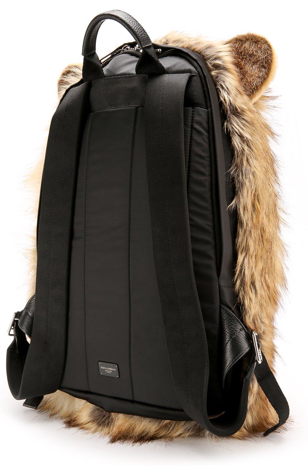 Текстильный рюкзак Dolce & Gabbana коричневый | Фото №3