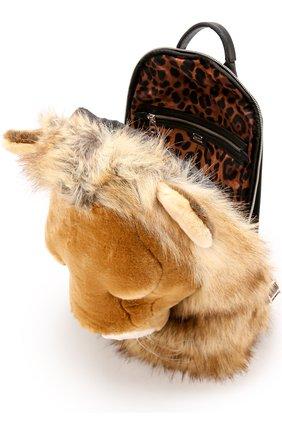 Текстильный рюкзак Dolce & Gabbana коричневый | Фото №4