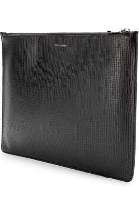 Кожаная папка для документов с аппликацией Dolce & Gabbana черного цвета | Фото №2