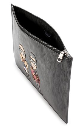 Кожаная папка для документов с аппликацией Dolce & Gabbana черного цвета | Фото №3