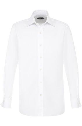 Мужская хлопковая сорочка с итальянским воротником TOM FORD белого цвета, арт. 2FT190/94C2JE | Фото 1