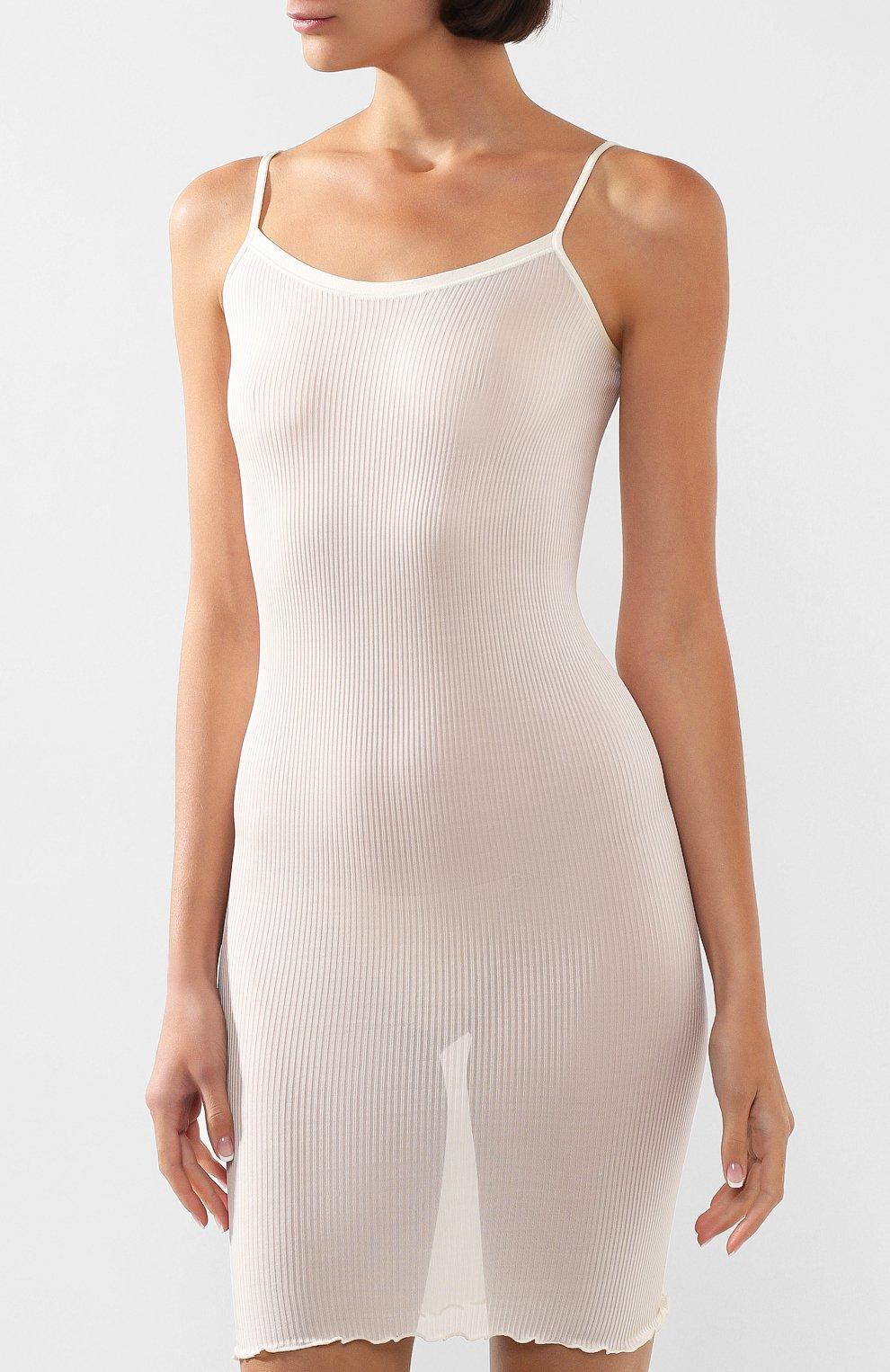 Женская сорочка DANA PISARRA кремвого цвета, арт. J0/SE40 | Фото 3 (Материал внешний: Шелк; Рукава: Короткие; Длина Ж (юбки, платья, шорты): До колена; Статус проверки: Проверена категория)